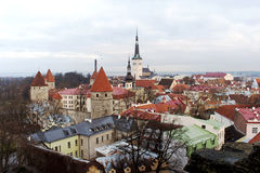 Gammal Town för stadspanorama av Tallinn Arkivbilder
