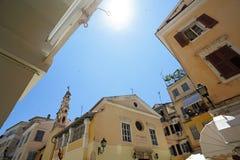 Gammal town Kerkyra, Corfu ö, Grekland. Arkivbild