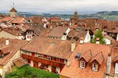 Gammal town Murten, Schweitz Arkivbilder