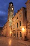 Gammal town på natten, Dubrovnik, Kroatien Arkivfoto