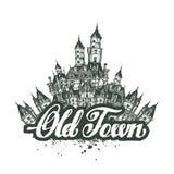 gammal town Vektorillustrationen, skissar, konstverk Arkivbilder