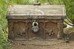 Gammal träbröstkorg med låset på naturlig bakgrund royaltyfri fotografi