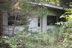 Gammal träbyggnad i skog Royaltyfria Foton