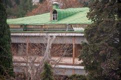 Gammal träbyggnad med mönstrade carvings Royaltyfria Foton