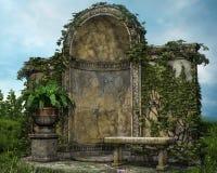 Gammal trädgård med en bänk royaltyfri illustrationer