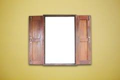 Gammal träfönsterram på abstrakt tom läderguling Backg Royaltyfri Bild