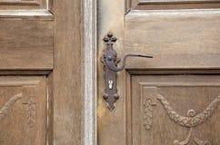 Gammal träingångsdörr med det antika dörrhandtaget Royaltyfria Foton