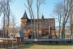 Gammal träkyrka i Debno, Polen royaltyfria bilder