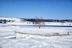 Gammal träroddbåt Arkivbild