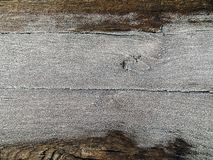 Gammal trätextur med bakgrund för jul för snöhoarfrost arkivfoto