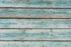 Gammal trävägg målad gräns - blått Royaltyfri Fotografi