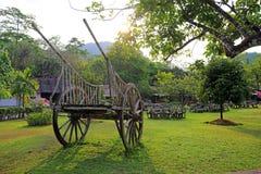 Gammal trävagn i trädgård Arkivbild