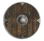 gammal trävikings sköld isolerad illustration 3d royaltyfri illustrationer