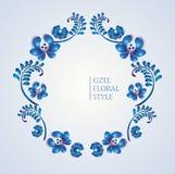 Gammal traditionell gzelprydnad Dekorativ blom- kran Royaltyfri Bild