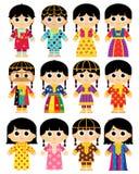 Gammal traditionell kläder i Förenade Arabemiraten UAE vektor illustrationer