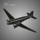 Gammal trafikflygplan för tappningpistongmotor Legendarisk retro flygplanvektorillustration Arkivbilder