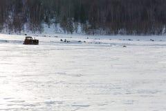 Gammal traktor under snön Fotografering för Bildbyråer