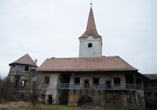 Gammal Transilvanian slott - tornet Arkivfoton