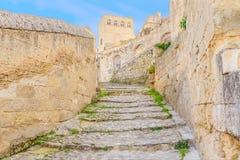 Gammal trappa av stenar, historiska byggnaden nära Matera i europeisk huvudstad för Italien UNESCO av kultur 2019 arkivfoto