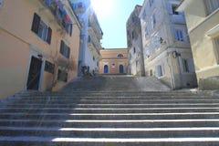 Gammal trappa på Corfu Royaltyfria Bilder