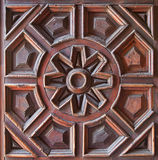 Gammal träsniden panel Royaltyfri Fotografi