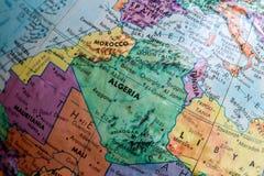 Gammal trycköversikt, jordiskt jordklot, africa, Marocko, Algeriet arkivbild