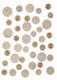 Gammal turkisk myntsamling på isolerad vit bakgrund royaltyfri fotografi