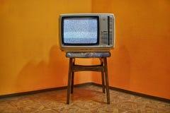 Gammal TV ingen signal arkivbilder