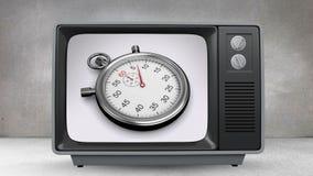 Gammal TV med animering av stoppuren på skärmen