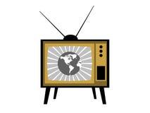 Gammal TV med antenner retro tv för symbol vektor stock illustrationer