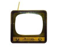 Gammal TV med den rena vita skärmen Royaltyfri Bild