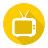 Gammal TVtelevisionsymbol med lång skugga royaltyfri illustrationer