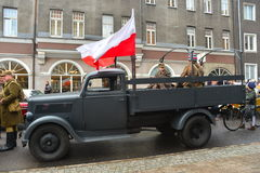 Gammal tysk lastbil Opel Blitz Fotografering för Bildbyråer