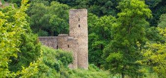 Gammal tysk slottutpost i skogen royaltyfri foto