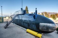 Gammal ubåt i Porto Montenegro i den Tivat staden, Montenegro Royaltyfri Bild