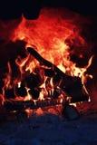 Gammal ugn med flammabrand royaltyfri fotografi