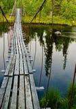 Gammal upphängning går bron över floden i skogen Royaltyfri Foto