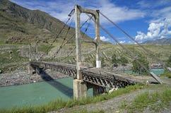 Gammal upphängningbro över bergfloden, Altai, Ryssland Royaltyfria Foton