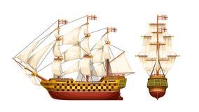 Gammal uppsättning för krigskepp stock illustrationer