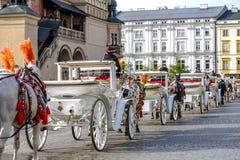 Gammal-utformade vagnar i Krakow Royaltyfria Foton