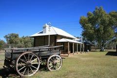 gammal utvändig stationstelegrafvagn Arkivbild