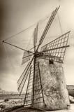 Gammal väderkvarn för salt produktion, Sicilien Royaltyfri Foto