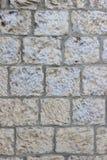 Gammal vägg av beigea kvarter av den Jerusalem stenen med exfoliating målarfärglagertextur Royaltyfri Foto
