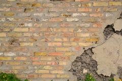gammal vägg för bakgrundstegelsten Arkivbilder