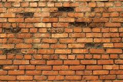 Gammal vägg för röd tegelsten Arkivfoto
