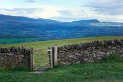 Gammal vägg för torr sten i welsh bygd, berg i bakgrund Royaltyfri Bild
