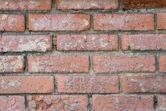Gammal vägg som göras från tegelsten Arkivfoto