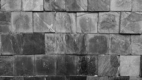 Gammal vägg, stenmodell, svartvit bakgrund Arkivfoton