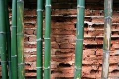 Gammal väggtegelsten knäcker och retro bakgrund för bambustamkonst Royaltyfri Foto