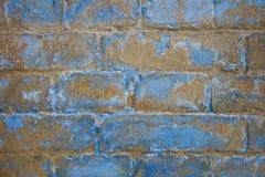Gammal väggtextur för tegelsten Blått mönstrar bakgrund Fotografering för Bildbyråer
